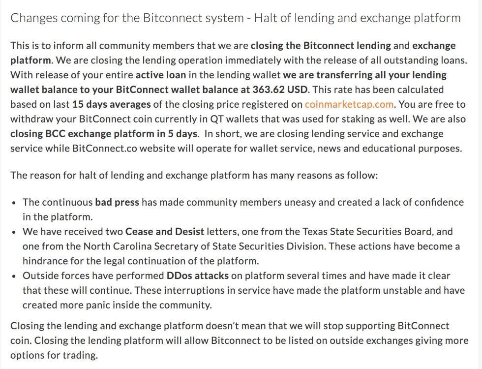 Changements Bitconnect