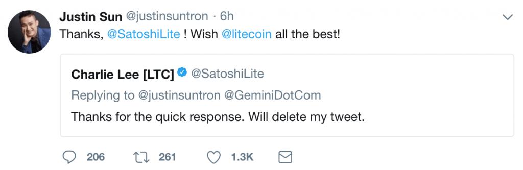 Clarification de Justin Sun sur Twitter