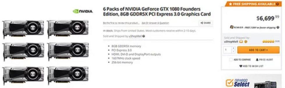 Hausse du prix d'un pack de 6 Geforce GTX de NVIDIA