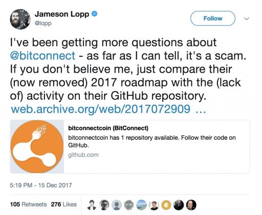 Jameson Lopp Bitconnect