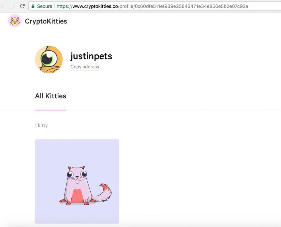 Le compte Cryptokitties de Justin Sun