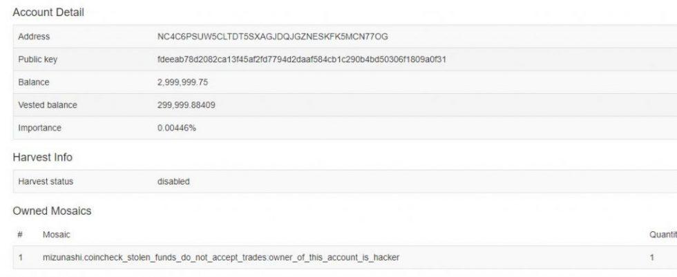 Transfert de XEM dans le cadre du piratage de Coincheck