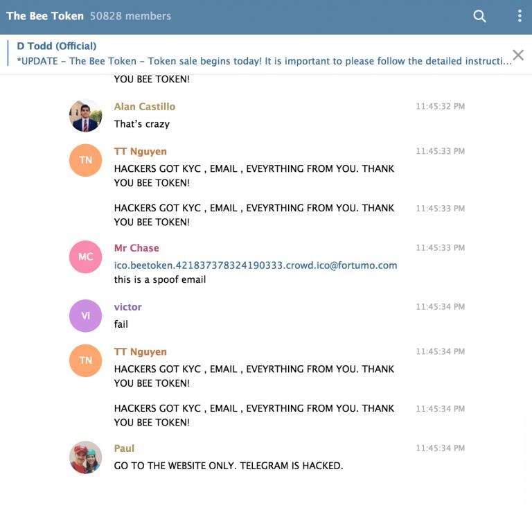 Accusations Beetoken sur Telegram