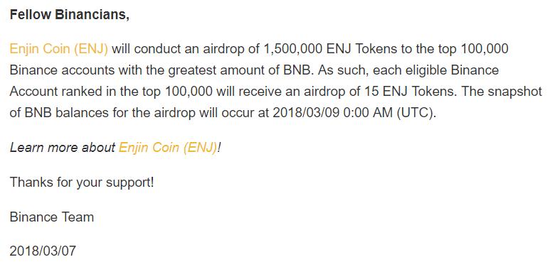 Aidrop Binance pour l'Enjin Coin