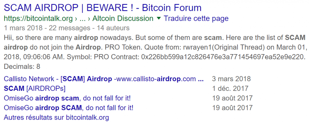 Escroquerie Airdrop