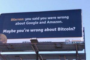 Panneau Publicitaire Warren Buffett Bitcoin