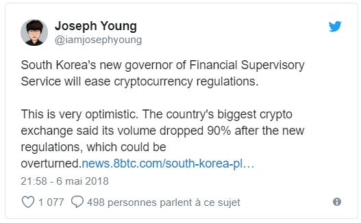 Twitter Joseph Young Crypto-monnaies en Corée du Sud