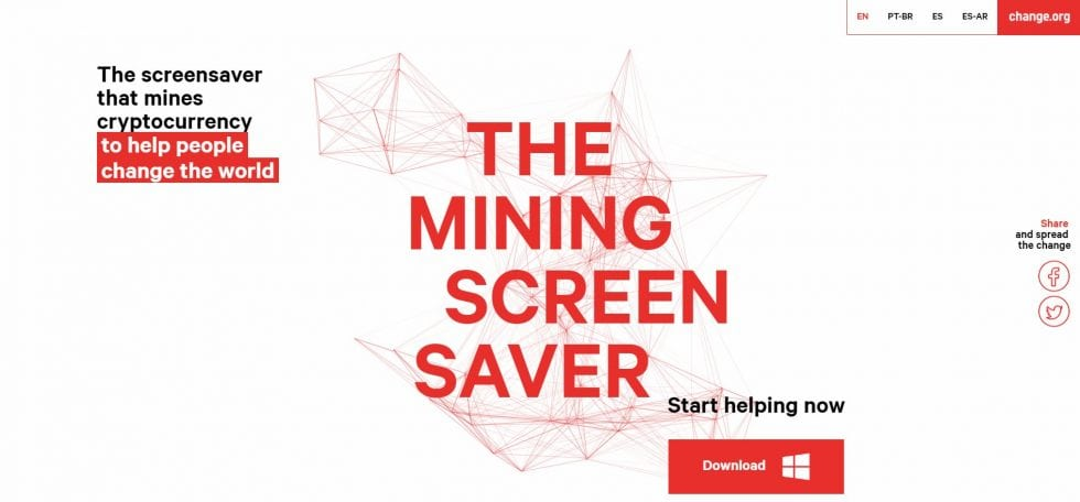 Change.org The Mining Screensaver