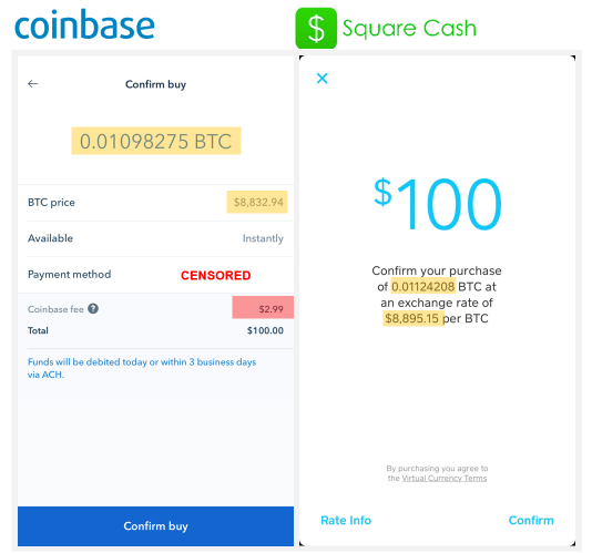 Achat Bitcoin Square Cash Coinbase