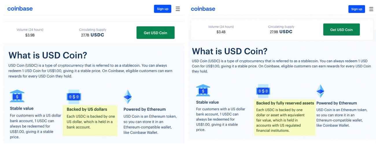 USD Coin Changement