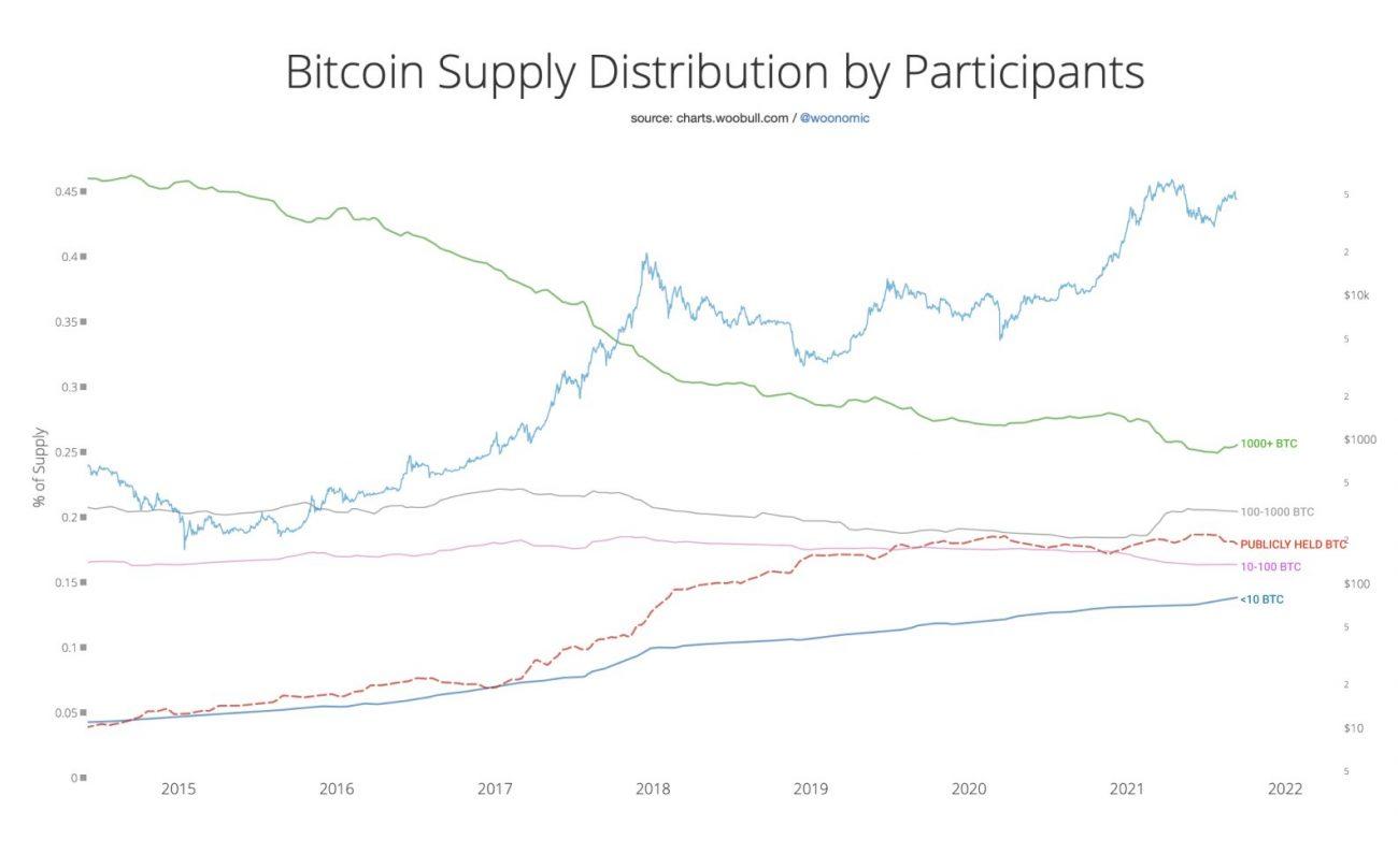 Distribution de l'offre de Bitcoins au 13 septembre 2021