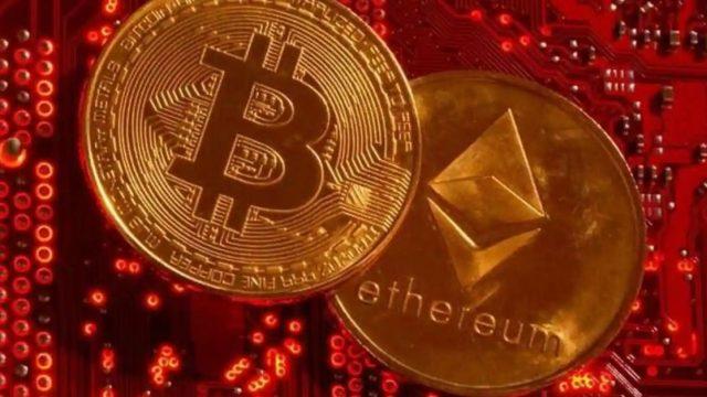 Pièces de Bitcoin et d'Ethereum